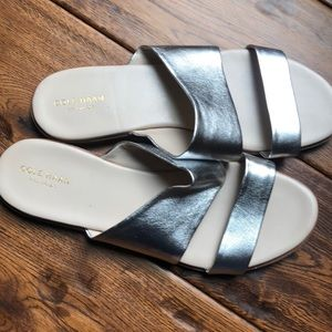 Cole Haan Anika flat silver slide sandals